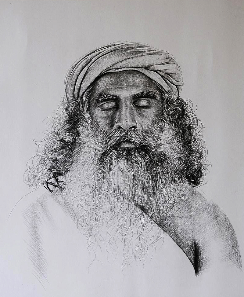 jaggi vasudev portrait (pencil sketching)